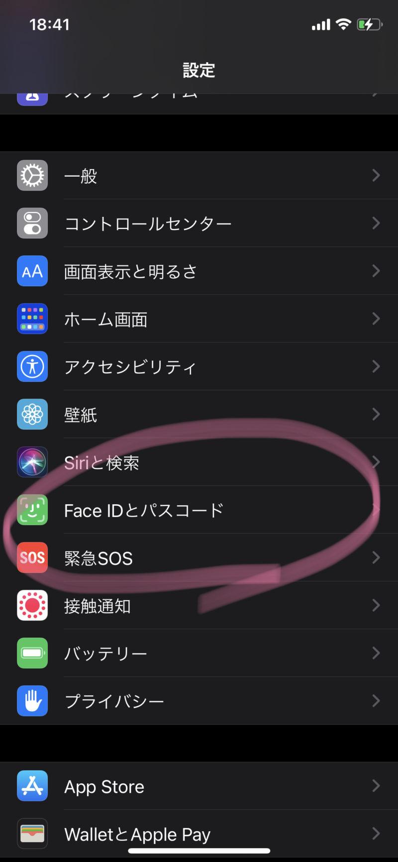 FaceIDとパスコード画面