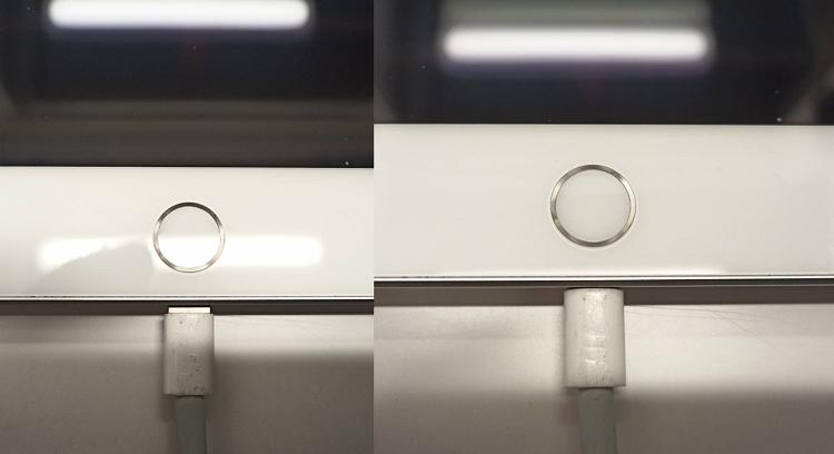 充電口に異物があり充電ケーブルが奥まで刺さっていないiPadと正常に奥まで挿さっているiPad比較画像