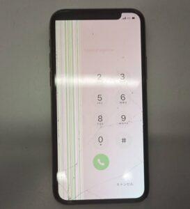 画面割れ・表示不良で表示が見えない所があるiPhone11Pro画像